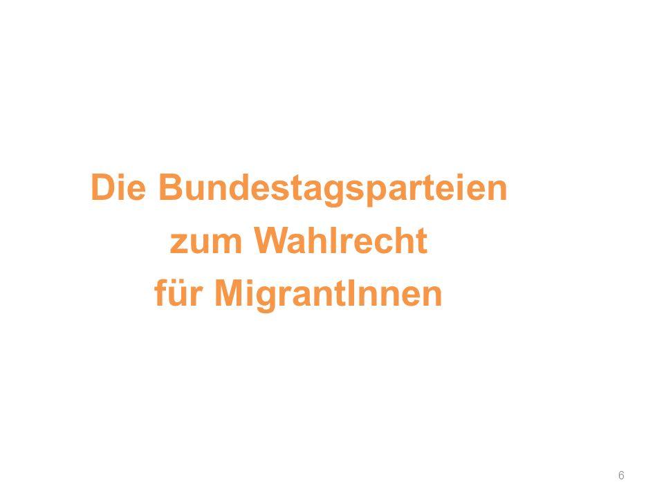 6 Die Bundestagsparteien zum Wahlrecht für MigrantInnen