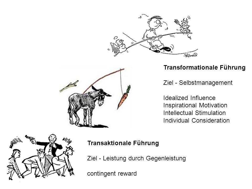 Transaktionale Führung Ziel - Leistung durch Gegenleistung contingent reward Transformationale Führung Ziel - Selbstmanagement Idealized Influence Ins