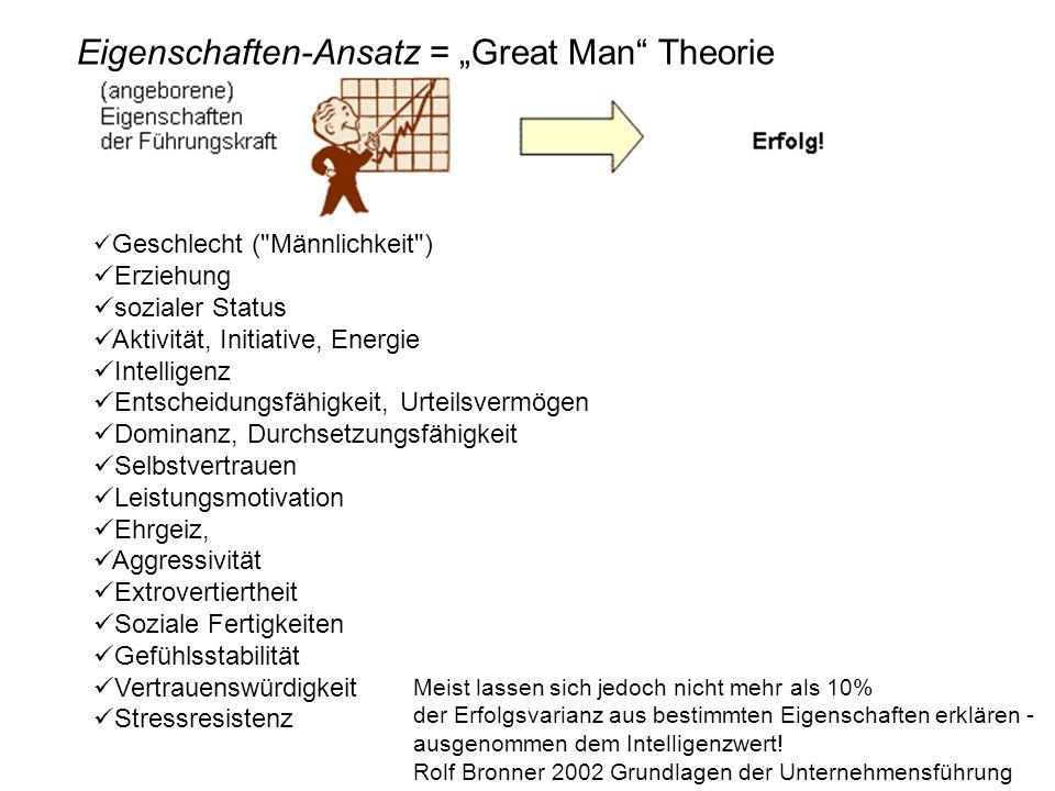 Eigenschaften-Ansatz = Great Man Theorie Geschlecht (