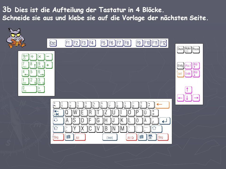 3b Dies ist die Aufteilung der Tastatur in 4 Blöcke. Schneide sie aus und klebe sie auf die Vorlage der nächsten Seite.