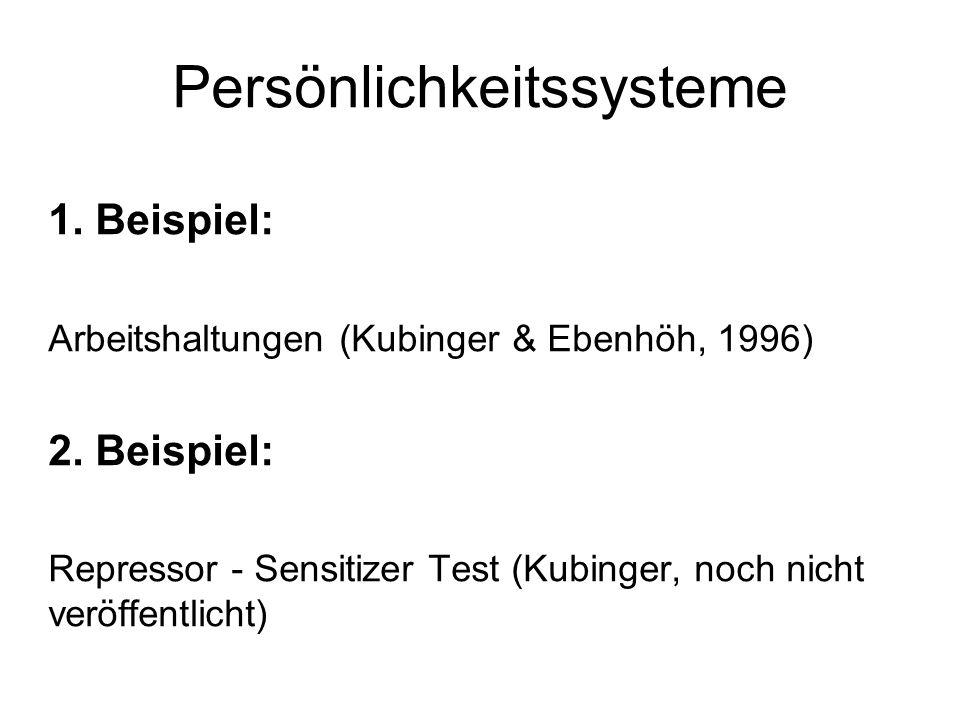 Persönlichkeitssysteme 1.Beispiel: Arbeitshaltungen (Kubinger & Ebenhöh, 1996) 2.
