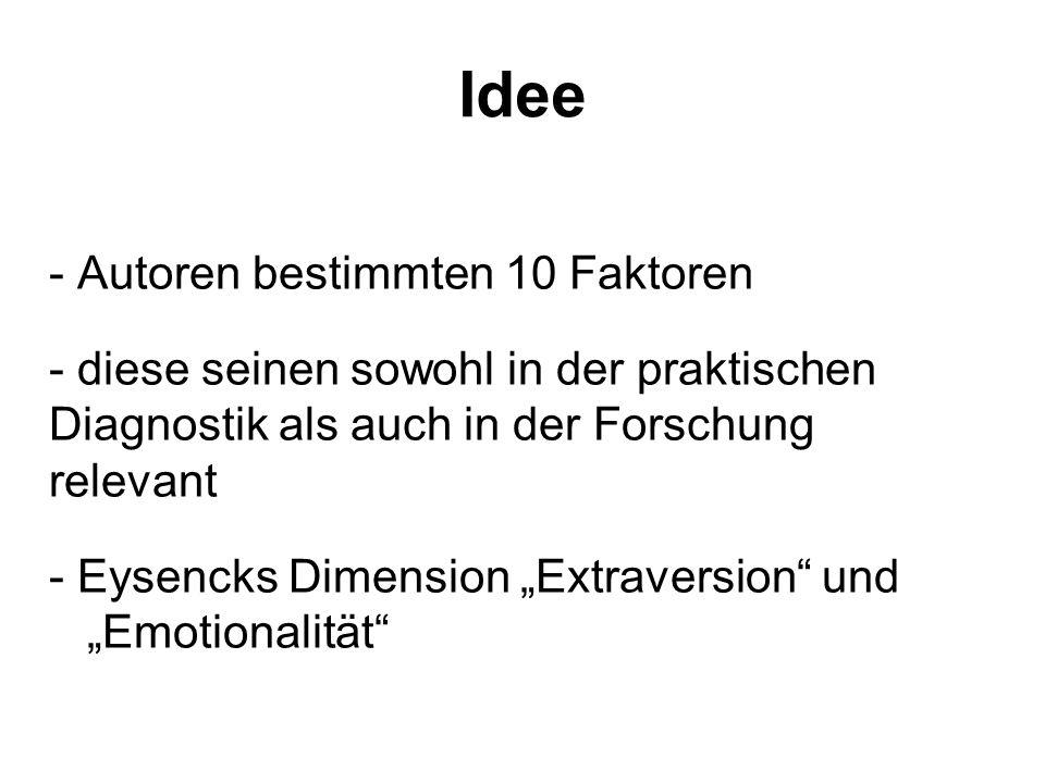 Idee - Autoren bestimmten 10 Faktoren - diese seinen sowohl in der praktischen Diagnostik als auch in der Forschung relevant - Eysencks Dimension Extraversion und Emotionalität