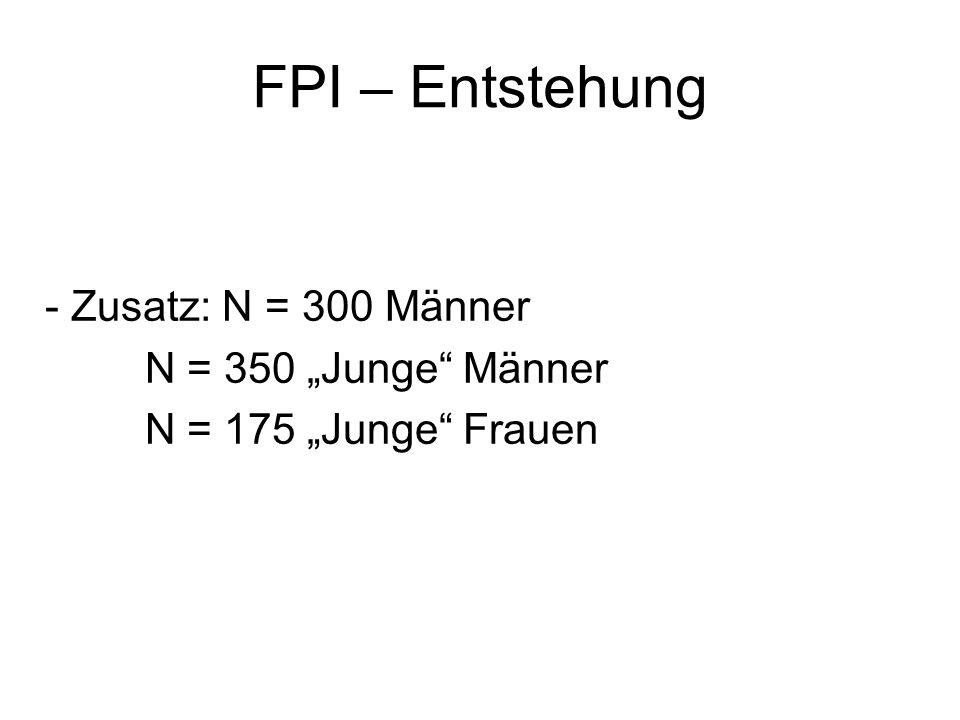FPI – Entstehung - Zusatz: N = 300 Männer N = 350 Junge Männer N = 175 Junge Frauen