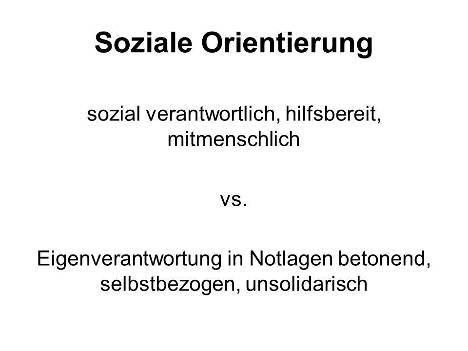 Soziale Orientierung sozial verantwortlich, hilfsbereit, mitmenschlich vs.
