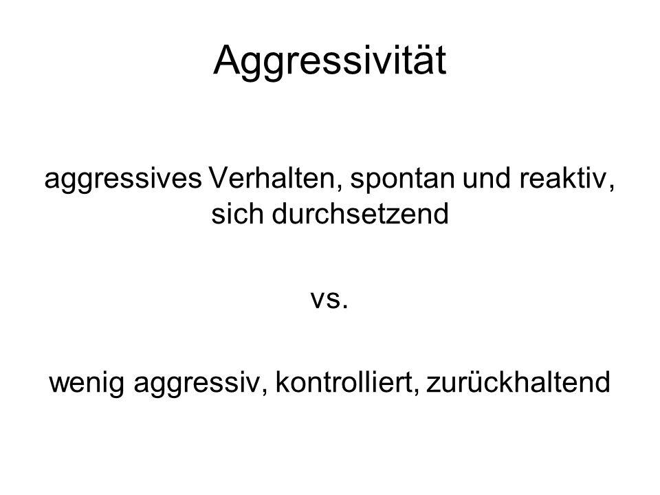 Aggressivität aggressives Verhalten, spontan und reaktiv, sich durchsetzend vs.