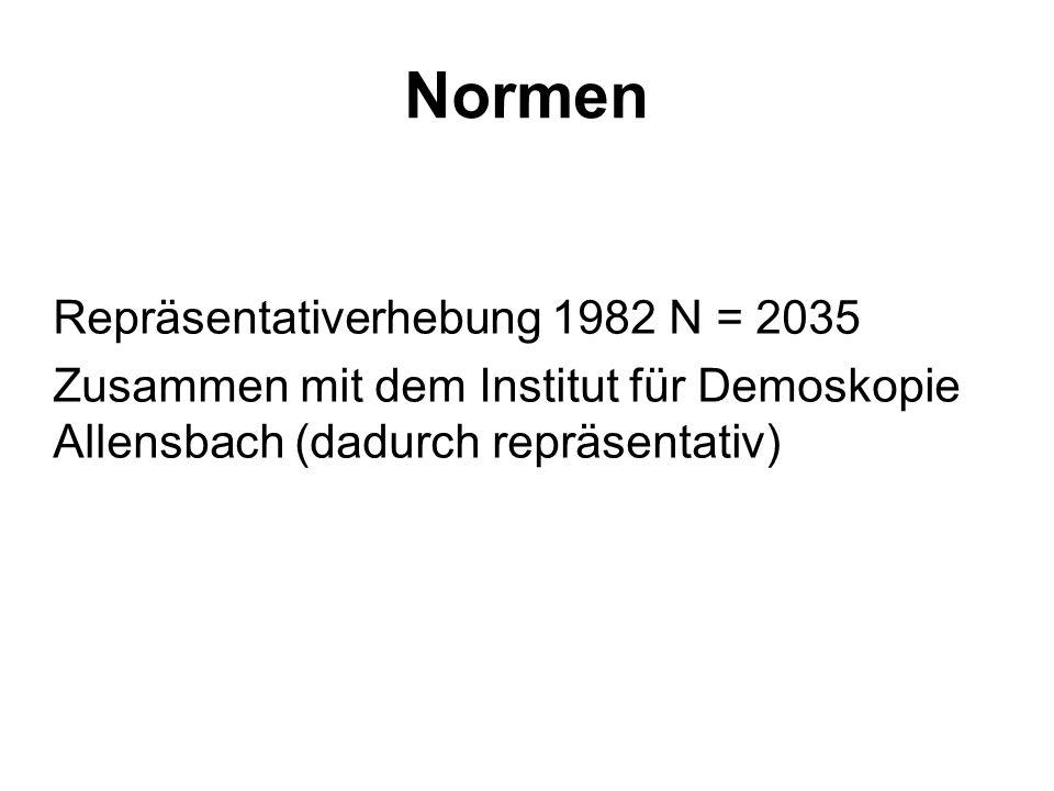 Normen Repräsentativerhebung 1982 N = 2035 Zusammen mit dem Institut für Demoskopie Allensbach (dadurch repräsentativ)