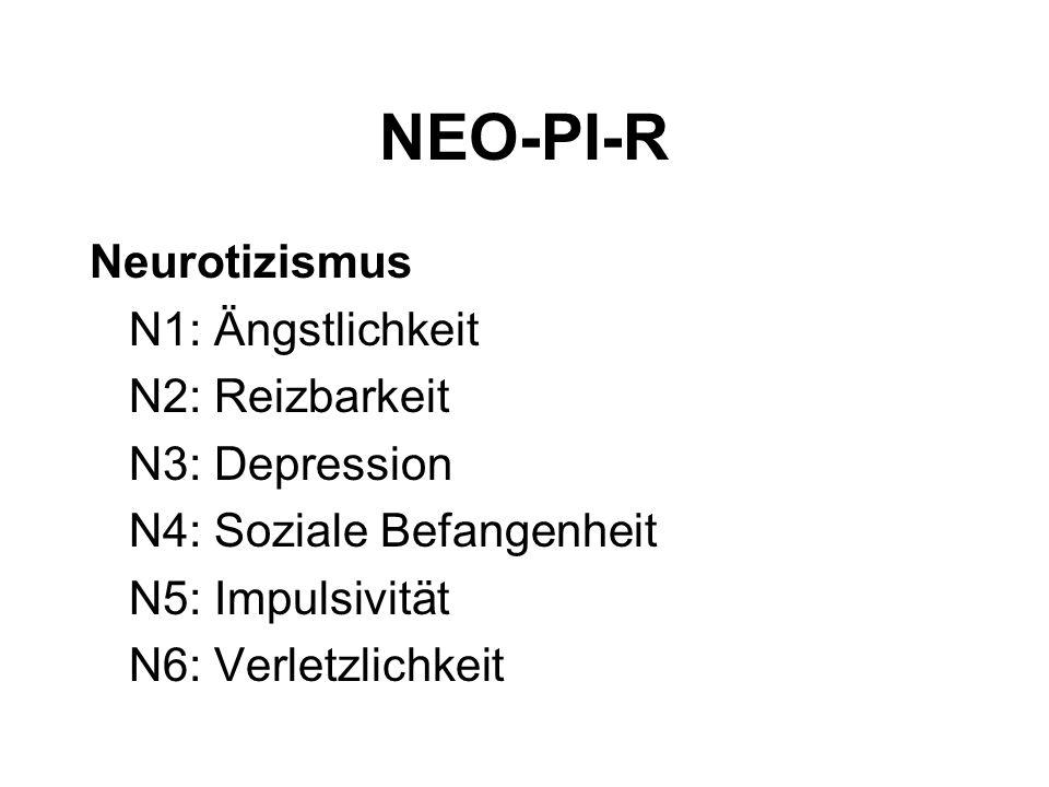 NEO-PI-R Neurotizismus N1: Ängstlichkeit N2: Reizbarkeit N3: Depression N4: Soziale Befangenheit N5: Impulsivität N6: Verletzlichkeit