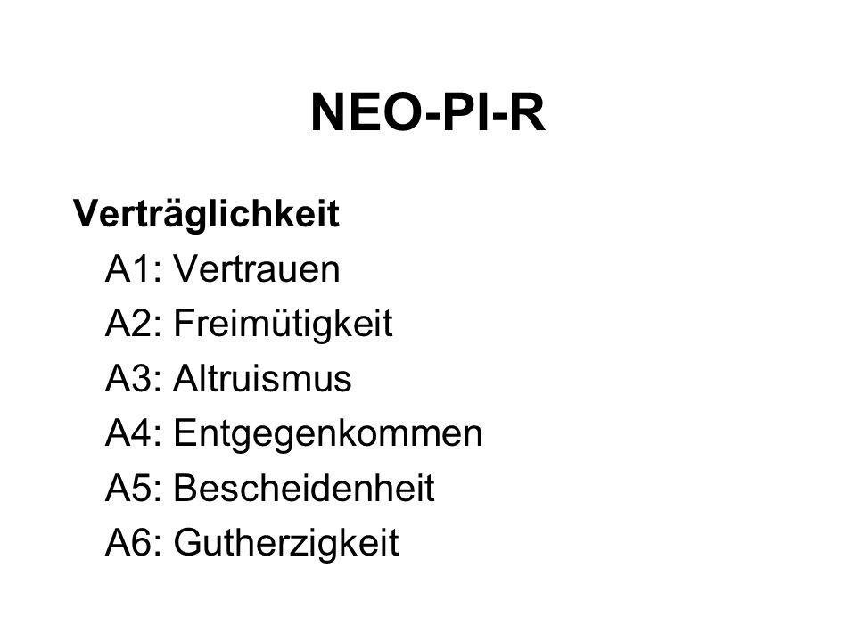 NEO-PI-R Verträglichkeit A1: Vertrauen A2: Freimütigkeit A3: Altruismus A4: Entgegenkommen A5: Bescheidenheit A6: Gutherzigkeit