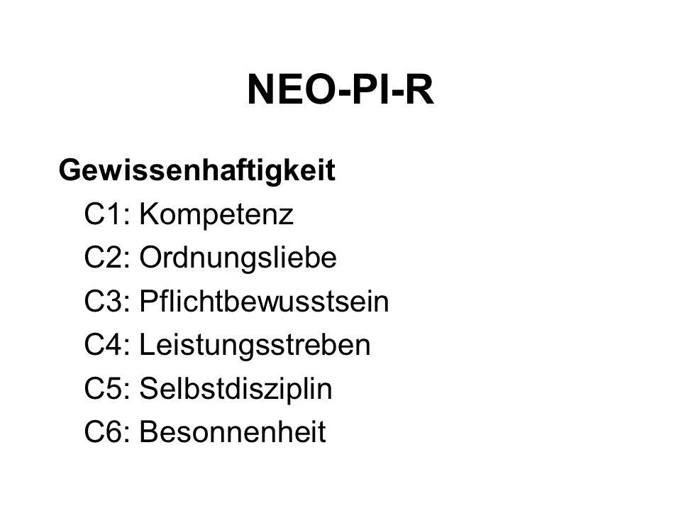 NEO-PI-R Gewissenhaftigkeit C1: Kompetenz C2: Ordnungsliebe C3: Pflichtbewusstsein C4: Leistungsstreben C5: Selbstdisziplin C6: Besonnenheit