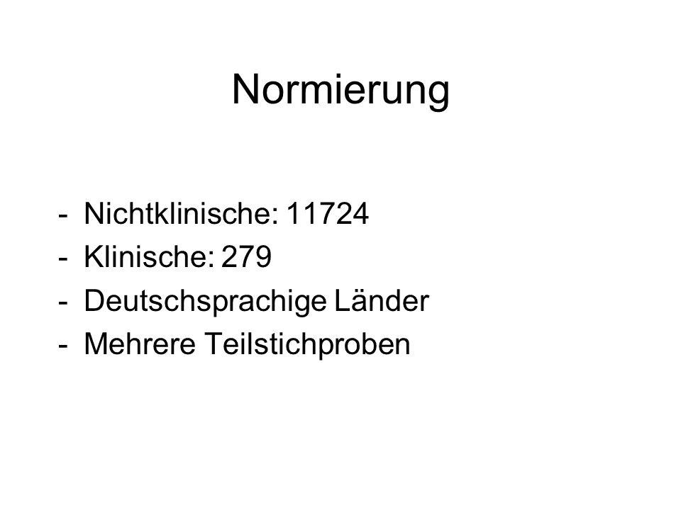 Normierung -Nichtklinische: 11724 -Klinische: 279 -Deutschsprachige Länder -Mehrere Teilstichproben