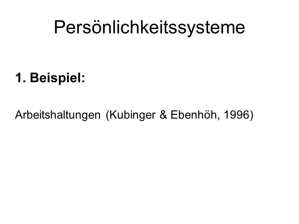 Persönlichkeitssysteme 1. Beispiel: Arbeitshaltungen (Kubinger & Ebenhöh, 1996)