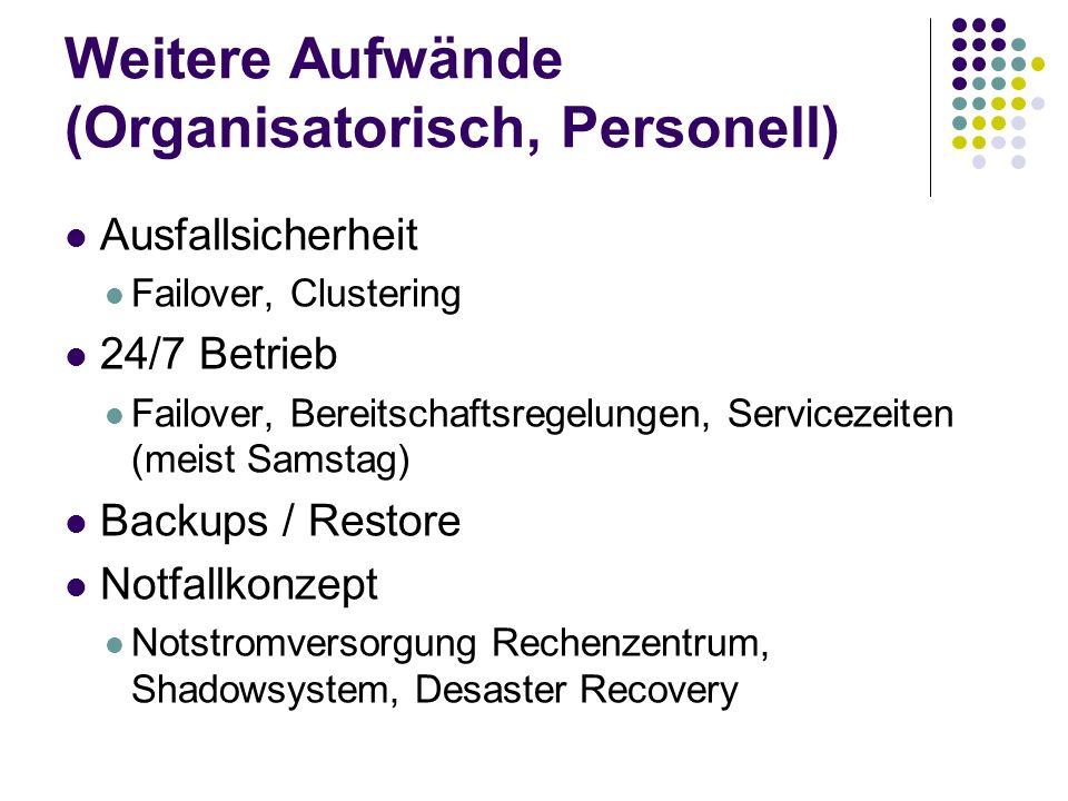 Weitere Aufwände (Organisatorisch, Personell) Ausfallsicherheit Failover, Clustering 24/7 Betrieb Failover, Bereitschaftsregelungen, Servicezeiten (me