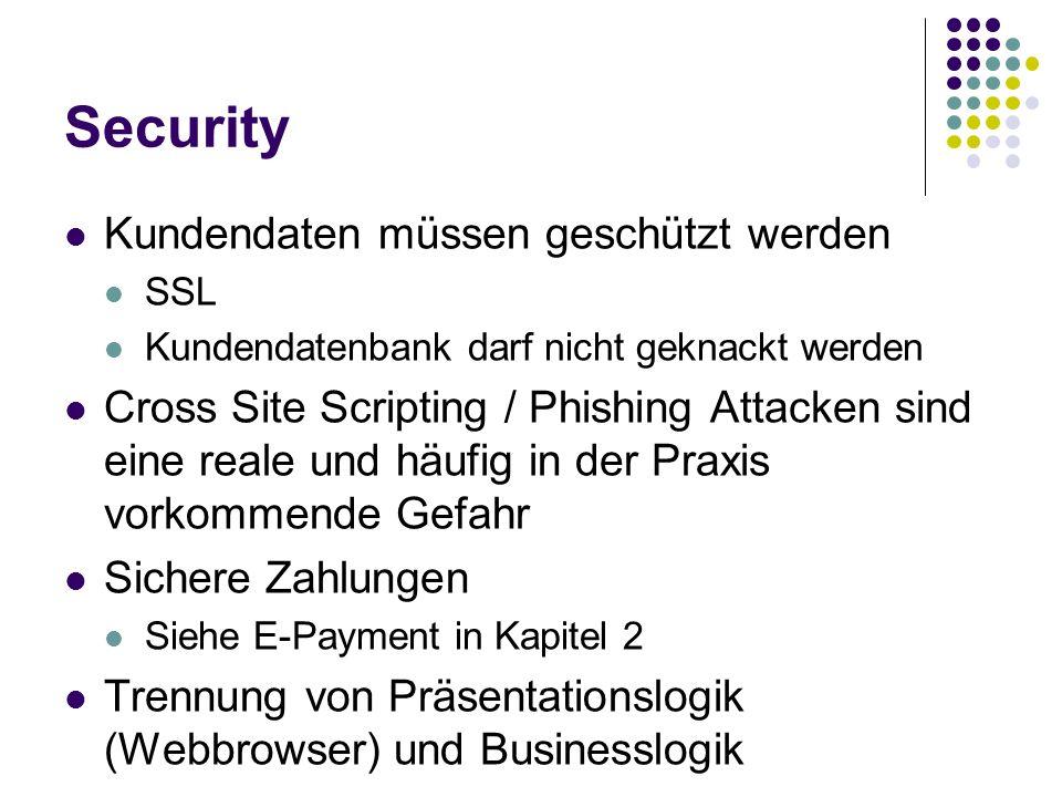 Security Kundendaten müssen geschützt werden SSL Kundendatenbank darf nicht geknackt werden Cross Site Scripting / Phishing Attacken sind eine reale u
