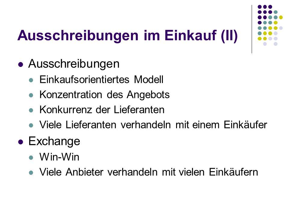 Ausschreibungen im Einkauf (II) Ausschreibungen Einkaufsorientiertes Modell Konzentration des Angebots Konkurrenz der Lieferanten Viele Lieferanten ve