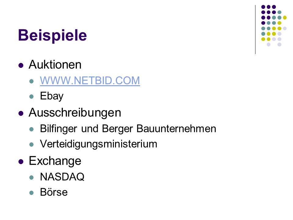 Beispiele Auktionen WWW.NETBID.COM Ebay Ausschreibungen Bilfinger und Berger Bauunternehmen Verteidigungsministerium Exchange NASDAQ Börse
