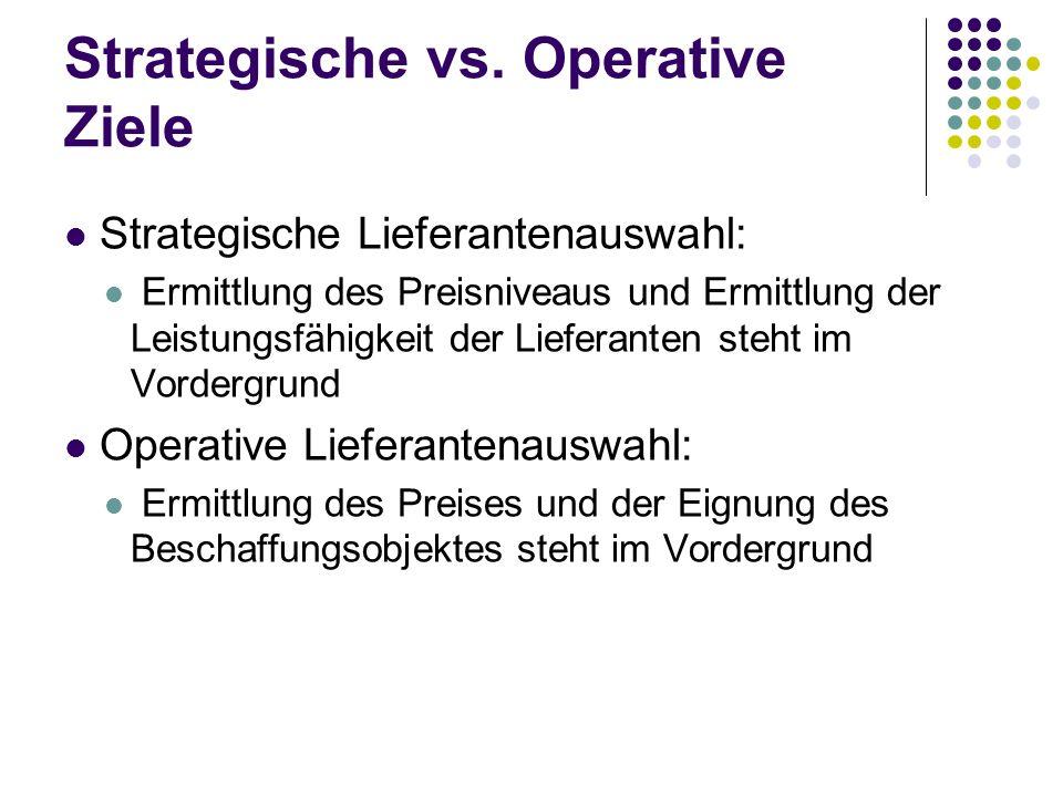 Strategische vs. Operative Ziele Strategische Lieferantenauswahl: Ermittlung des Preisniveaus und Ermittlung der Leistungsfähigkeit der Lieferanten st