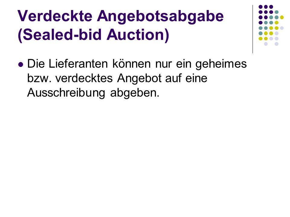 Verdeckte Angebotsabgabe (Sealed-bid Auction) Die Lieferanten können nur ein geheimes bzw. verdecktes Angebot auf eine Ausschreibung abgeben.