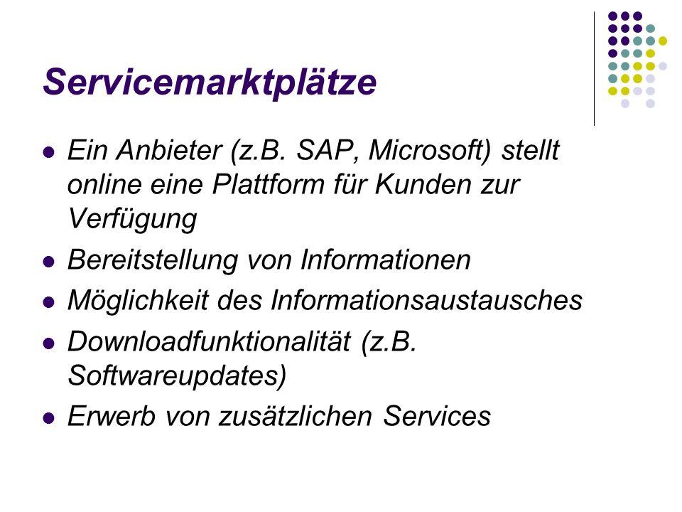 Servicemarktplätze Ein Anbieter (z.B. SAP, Microsoft) stellt online eine Plattform für Kunden zur Verfügung Bereitstellung von Informationen Möglichke