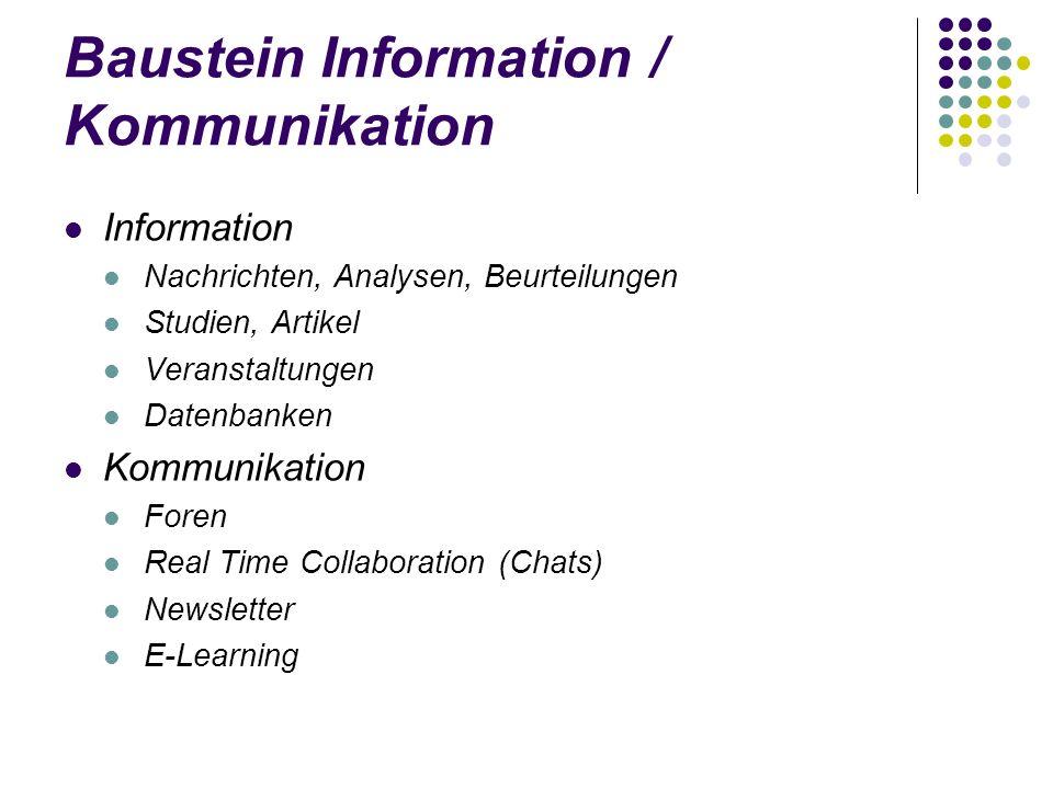 Baustein Information / Kommunikation Information Nachrichten, Analysen, Beurteilungen Studien, Artikel Veranstaltungen Datenbanken Kommunikation Foren