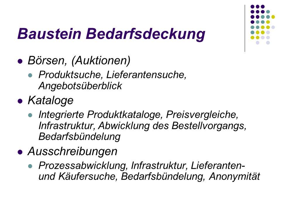 Baustein Bedarfsdeckung Börsen, (Auktionen) Produktsuche, Lieferantensuche, Angebotsüberblick Kataloge Integrierte Produktkataloge, Preisvergleiche, I