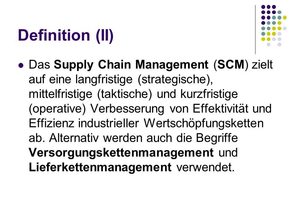 Definition (II) Das Supply Chain Management (SCM) zielt auf eine langfristige (strategische), mittelfristige (taktische) und kurzfristige (operative)
