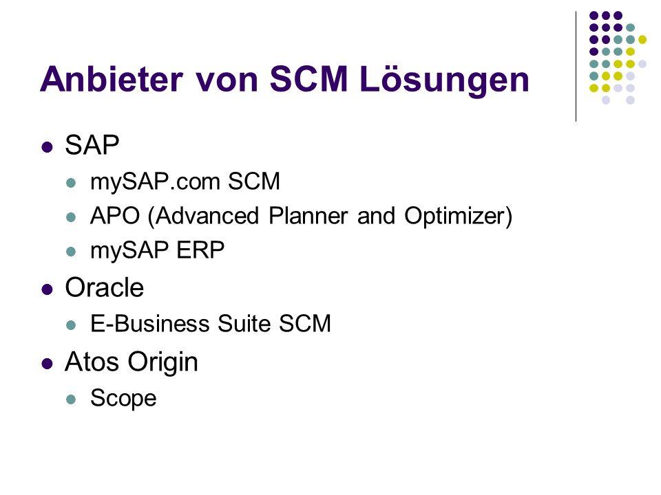 Anbieter von SCM Lösungen SAP mySAP.com SCM APO (Advanced Planner and Optimizer) mySAP ERP Oracle E-Business Suite SCM Atos Origin Scope