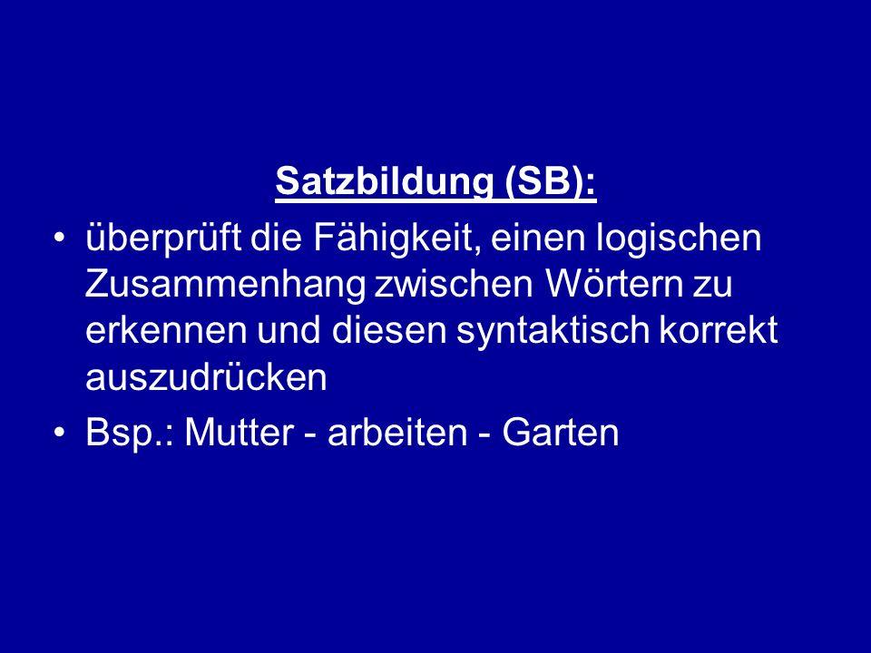 Satzbildung (SB): überprüft die Fähigkeit, einen logischen Zusammenhang zwischen Wörtern zu erkennen und diesen syntaktisch korrekt auszudrücken Bsp.: