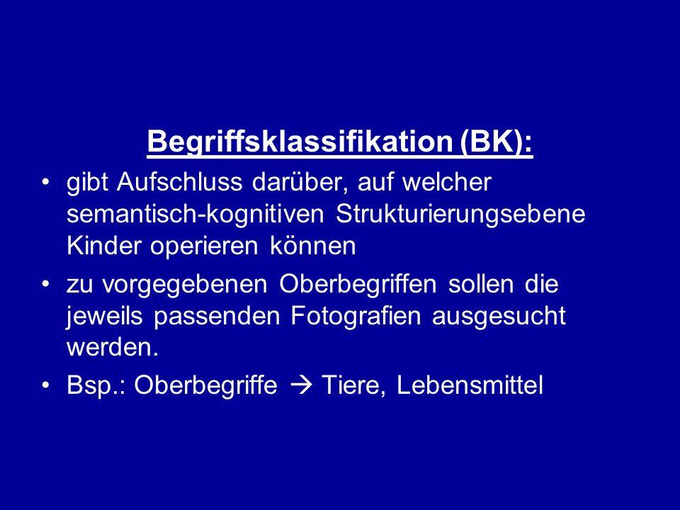 Begriffsklassifikation (BK): gibt Aufschluss darüber, auf welcher semantisch-kognitiven Strukturierungsebene Kinder operieren können zu vorgegebenen O