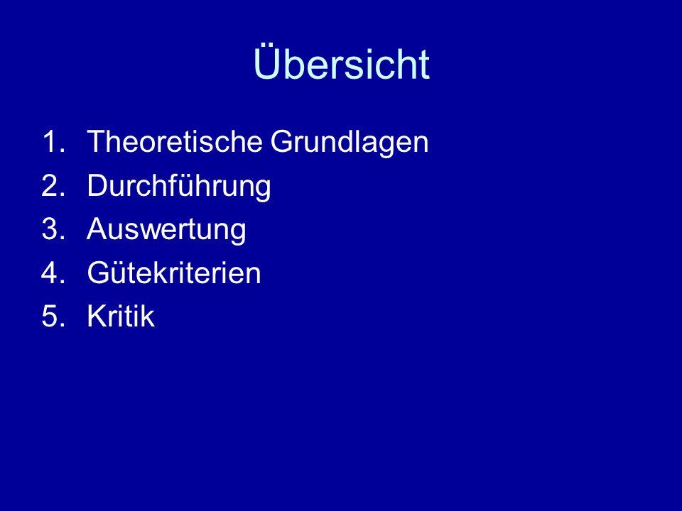 Übersicht 1.Theoretische Grundlagen 2.Durchführung 3.Auswertung 4.Gütekriterien 5.Kritik