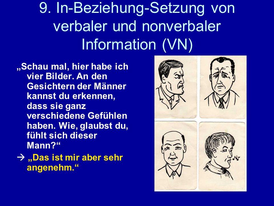 9. In-Beziehung-Setzung von verbaler und nonverbaler Information (VN) Schau mal, hier habe ich vier Bilder. An den Gesichtern der Männer kannst du erk