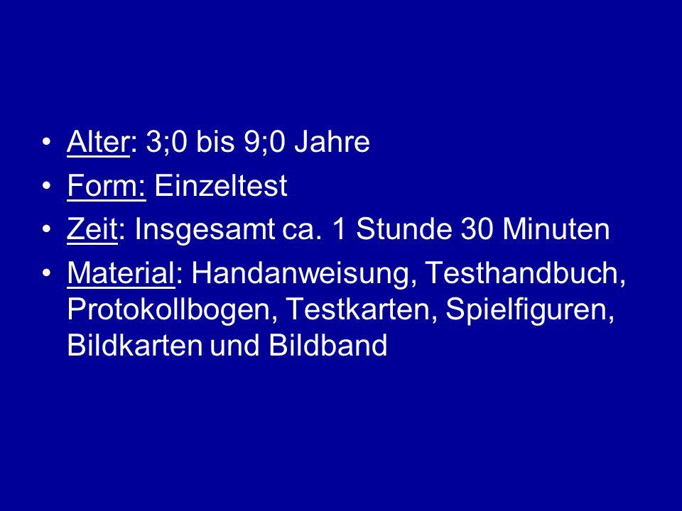 Alter: 3;0 bis 9;0 Jahre Form: Einzeltest Zeit: Insgesamt ca. 1 Stunde 30 Minuten Material: Handanweisung, Testhandbuch, Protokollbogen, Testkarten, S