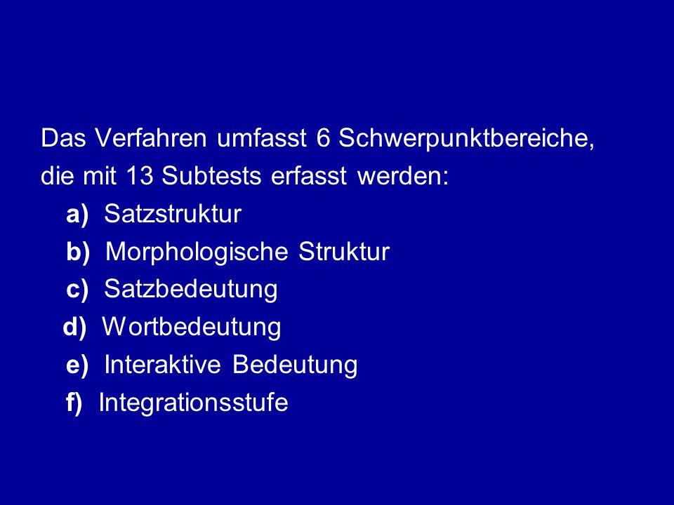 Das Verfahren umfasst 6 Schwerpunktbereiche, die mit 13 Subtests erfasst werden: a) Satzstruktur b) Morphologische Struktur c) Satzbedeutung d) Wortbe