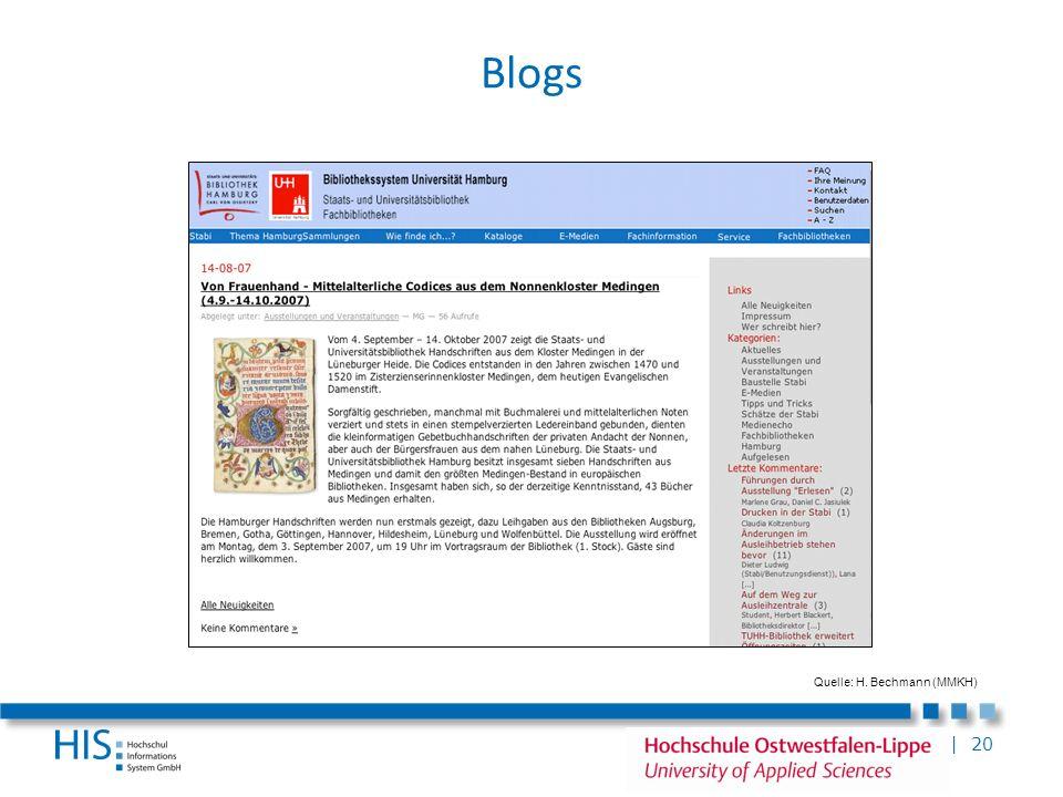 | 20 Blogs Quelle: H. Bechmann (MMKH)