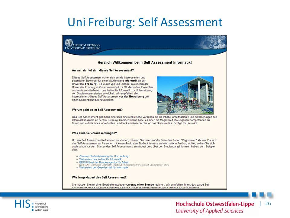 | 26 Uni Freiburg: Self Assessment