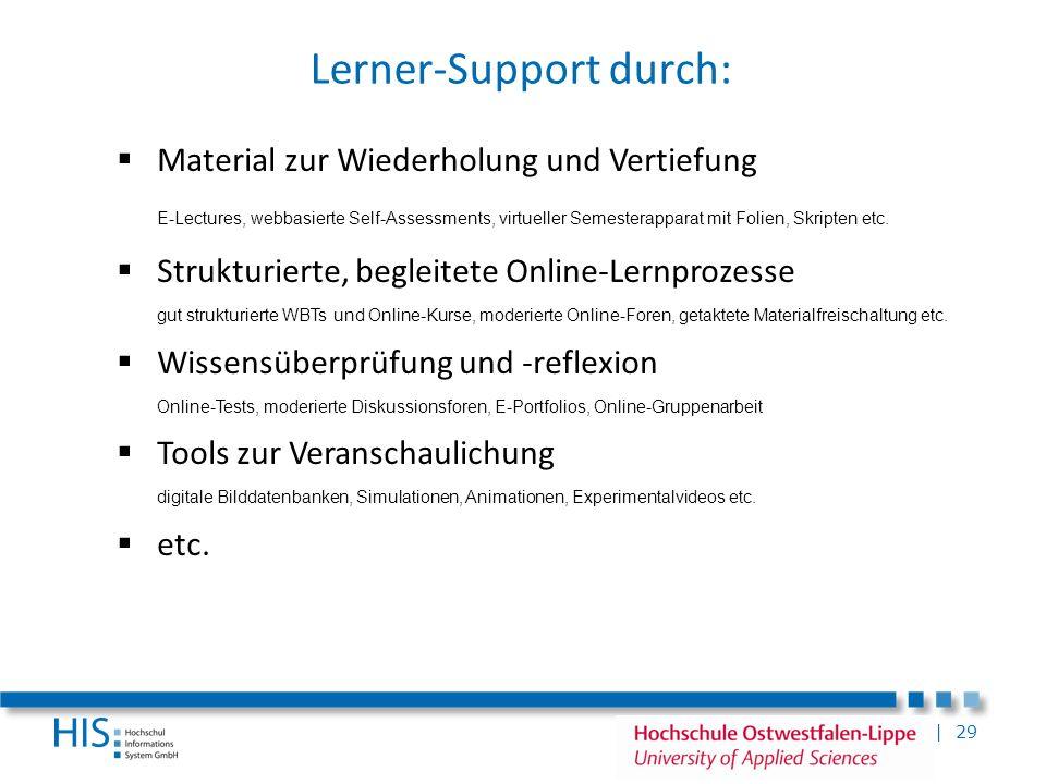 | 29 Lerner-Support durch: Material zur Wiederholung und Vertiefung E-Lectures, webbasierte Self-Assessments, virtueller Semesterapparat mit Folien, S