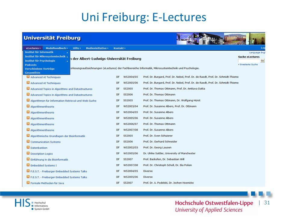 | 31 Uni Freiburg: E-Lectures