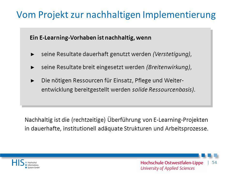 | 54 Vom Projekt zur nachhaltigen Implementierung Ein E-Learning-Vorhaben ist nachhaltig, wenn seine Resultate dauerhaft genutzt werden (Verstetigung)