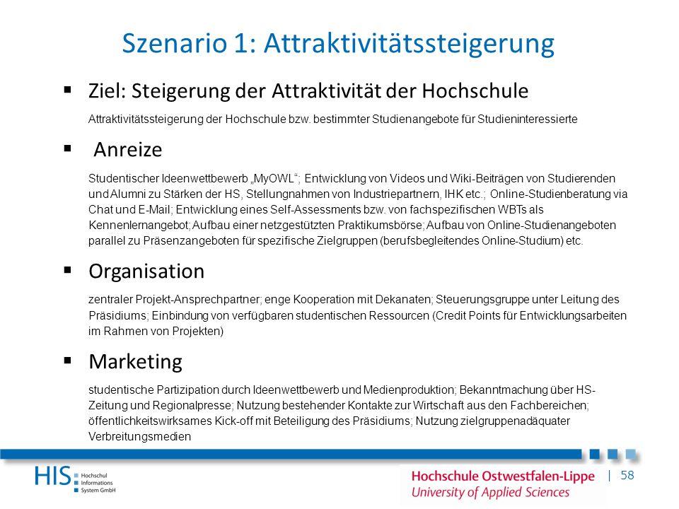 | 58 Szenario 1: Attraktivitätssteigerung Ziel: Steigerung der Attraktivität der Hochschule Attraktivitätssteigerung der Hochschule bzw. bestimmter St