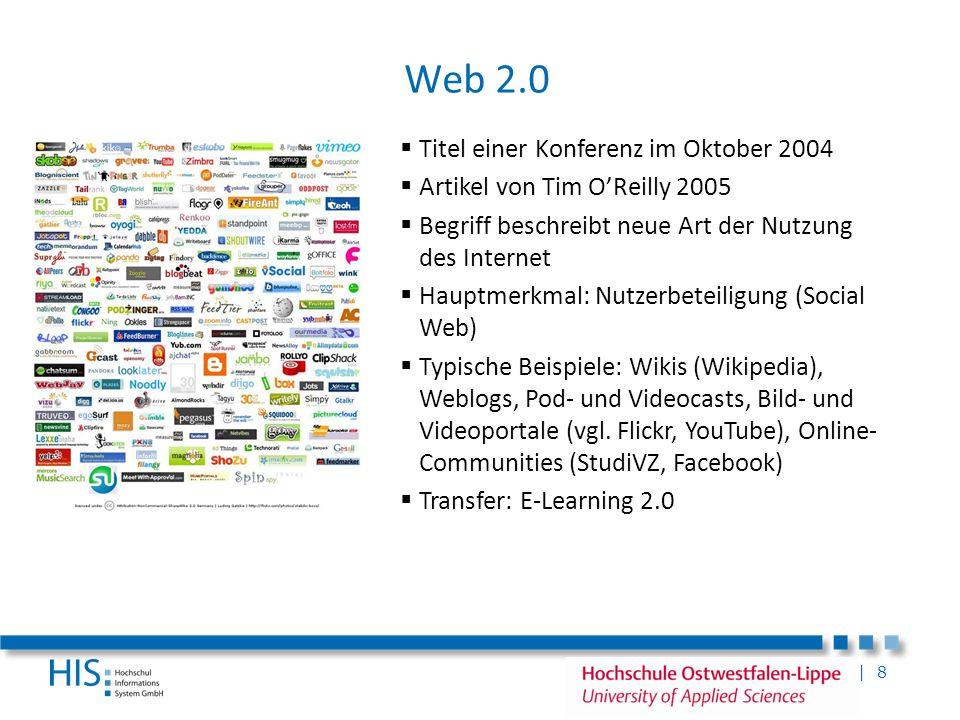 | 8 Web 2.0 Titel einer Konferenz im Oktober 2004 Artikel von Tim OReilly 2005 Begriff beschreibt neue Art der Nutzung des Internet Hauptmerkmal: Nutz