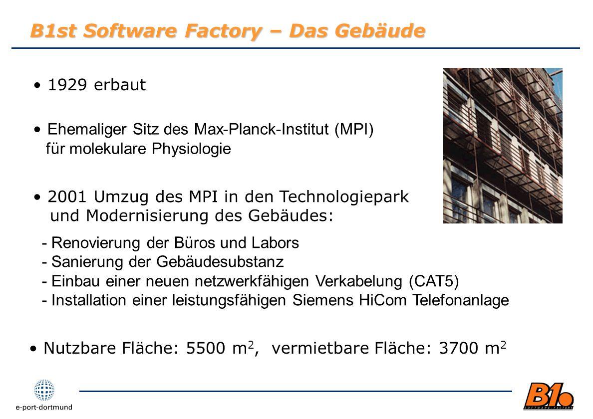 B1st Software Factory – Das Gebäude 1929 erbaut Ehemaliger Sitz des Max-Planck-Institut (MPI) für molekulare Physiologie 2001 Umzug des MPI in den Tec