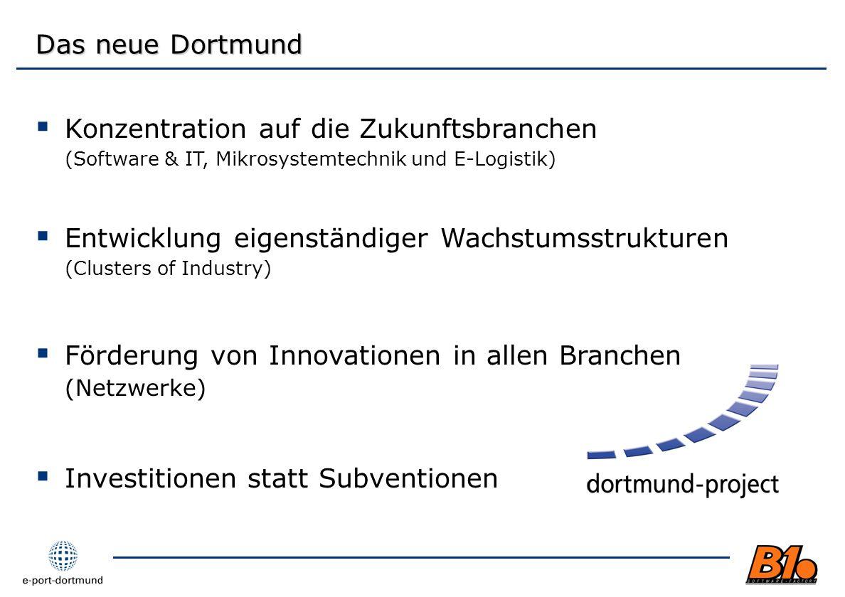 Das neue Dortmund Konzentration auf die Zukunftsbranchen (Software & IT, Mikrosystemtechnik und E-Logistik) Entwicklung eigenständiger Wachstumsstrukt