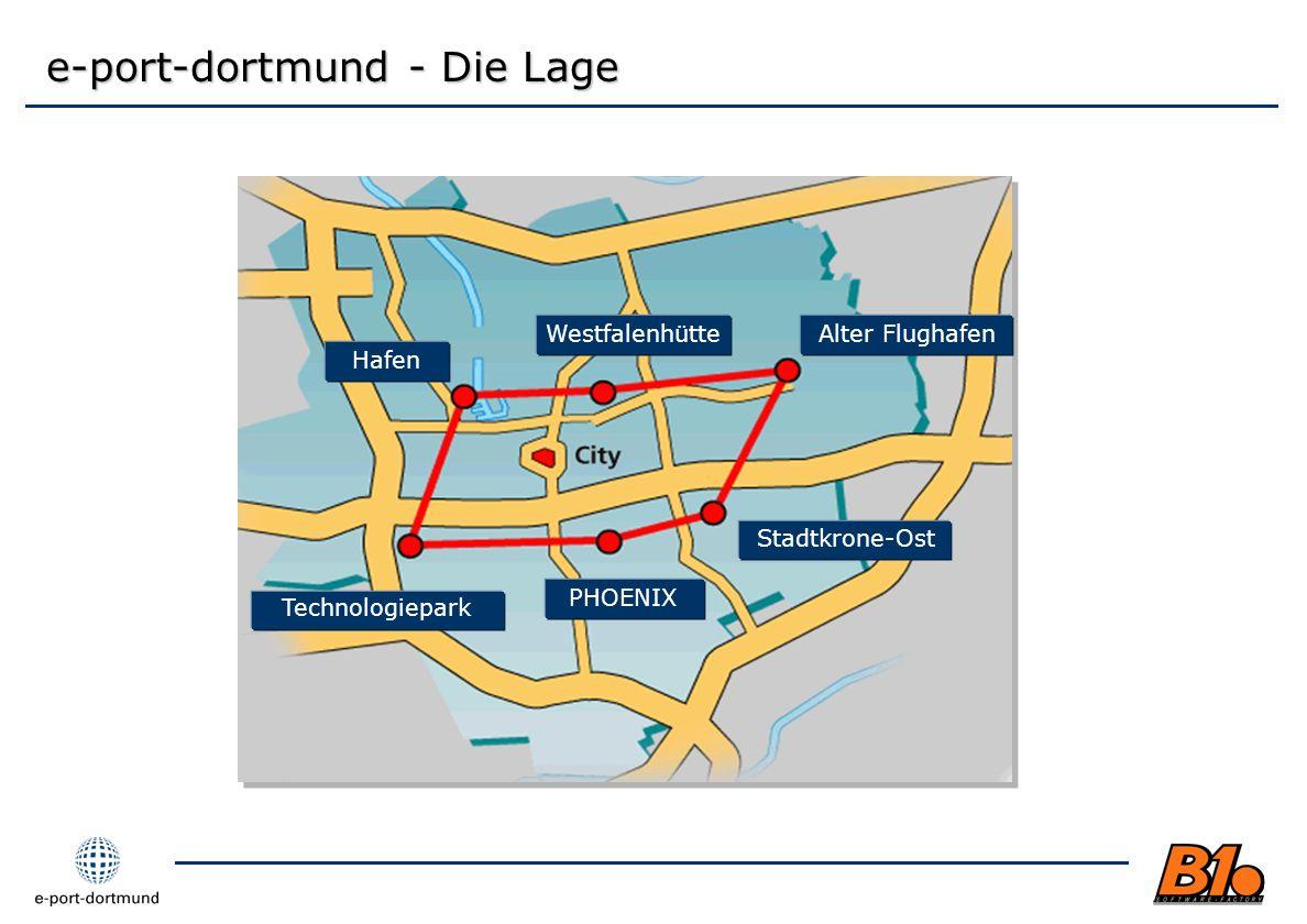 e-port-dortmund - Die Lage Technologiepark Hafen PHOENIX WestfalenhütteAlter Flughafen Stadtkrone-Ost