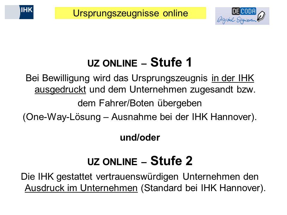 Ursprungszeugnisse online UZ ONLINE – Stufe 1 Bei Bewilligung wird das Ursprungszeugnis in der IHK ausgedruckt und dem Unternehmen zugesandt bzw. dem