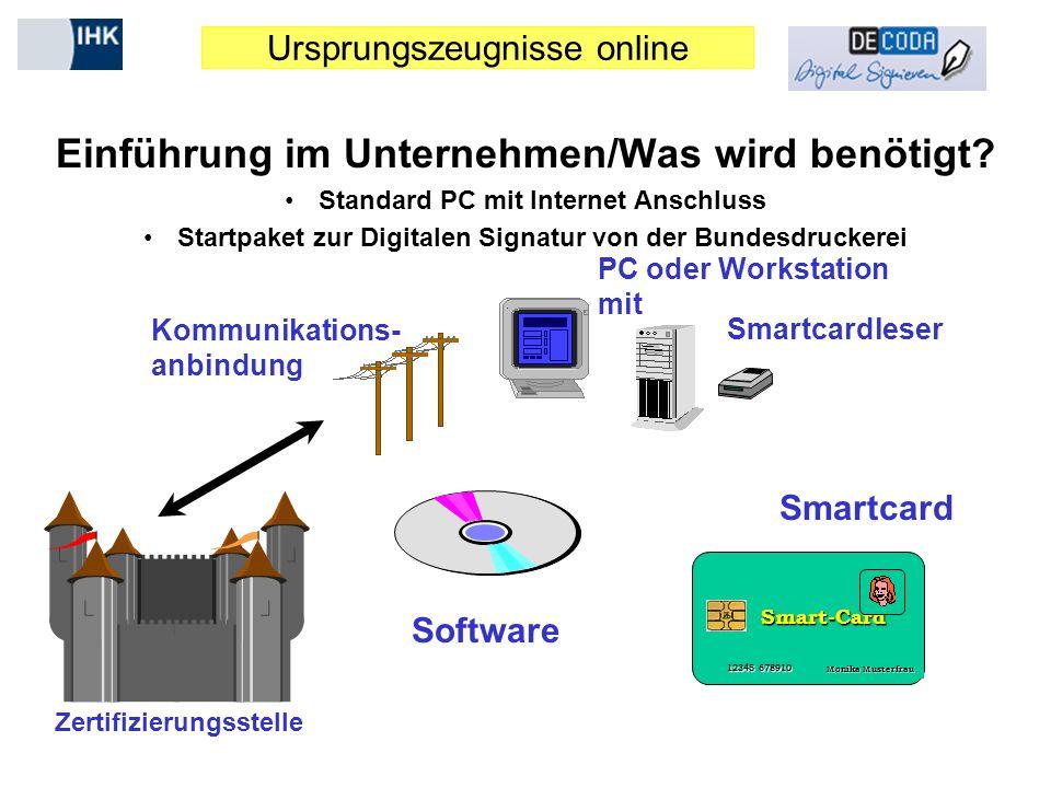 Ursprungszeugnisse online Einführung im Unternehmen/Was wird benötigt? Standard PC mit Internet Anschluss Startpaket zur Digitalen Signatur von der Bu
