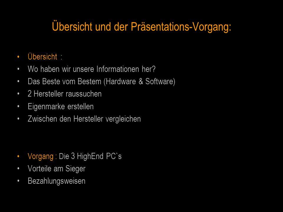 Übersicht und der Präsentations-Vorgang: Übersicht : Wo haben wir unsere Informationen her? Das Beste vom Bestem (Hardware & Software) 2 Hersteller ra