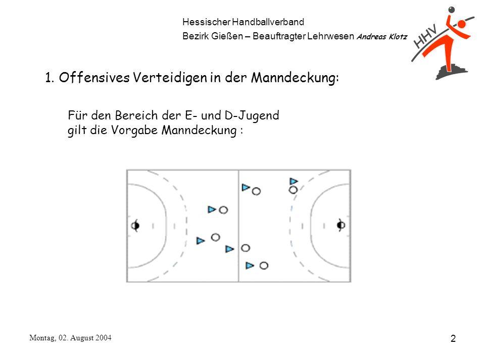 Hessischer Handballverband Bezirk Gießen – Beauftragter Lehrwesen Andreas Klotz Montag, 02. August 2004 2 1. Offensives Verteidigen in der Manndeckung