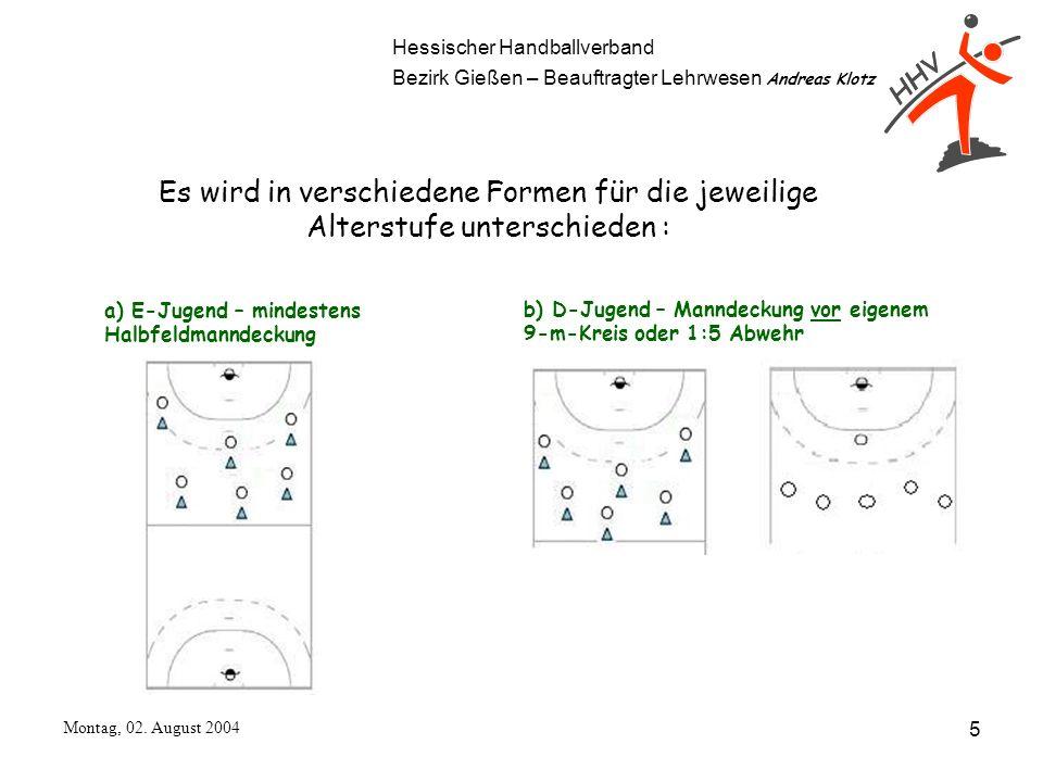 Hessischer Handballverband Bezirk Gießen – Beauftragter Lehrwesen Andreas Klotz Montag, 02. August 2004 5 Es wird in verschiedene Formen für die jewei