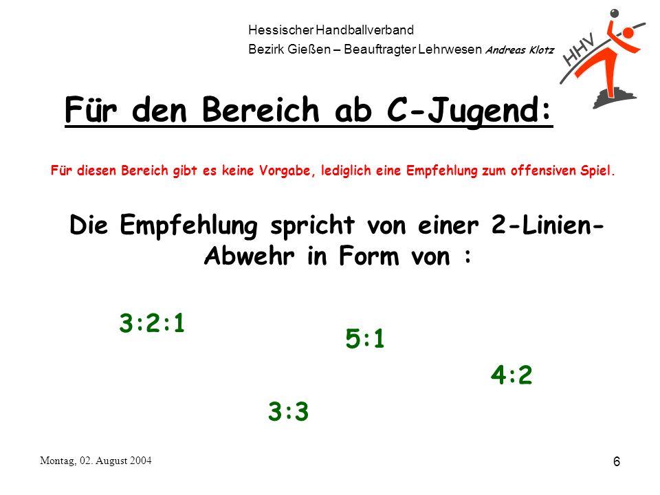 Hessischer Handballverband Bezirk Gießen – Beauftragter Lehrwesen Andreas Klotz Montag, 02. August 2004 6 Für den Bereich ab C-Jugend: Für diesen Bere