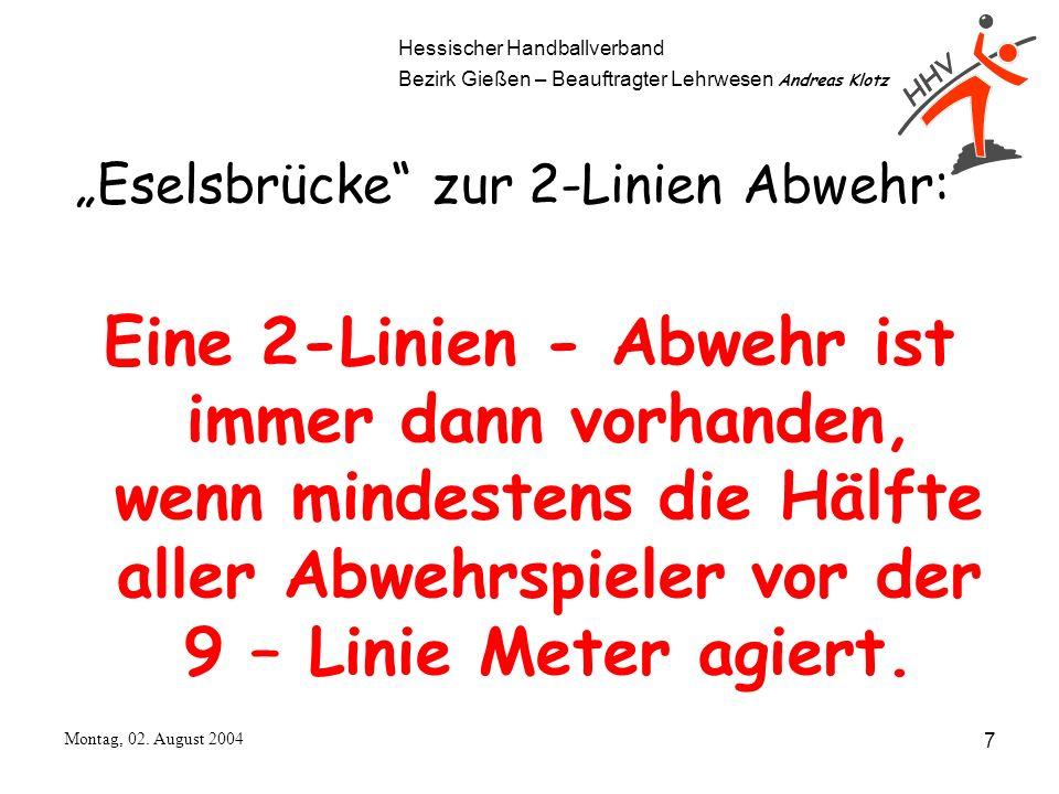 Hessischer Handballverband Bezirk Gießen – Beauftragter Lehrwesen Andreas Klotz Montag, 02. August 2004 7 Eselsbrücke zur 2-Linien Abwehr: Eine 2-Lini