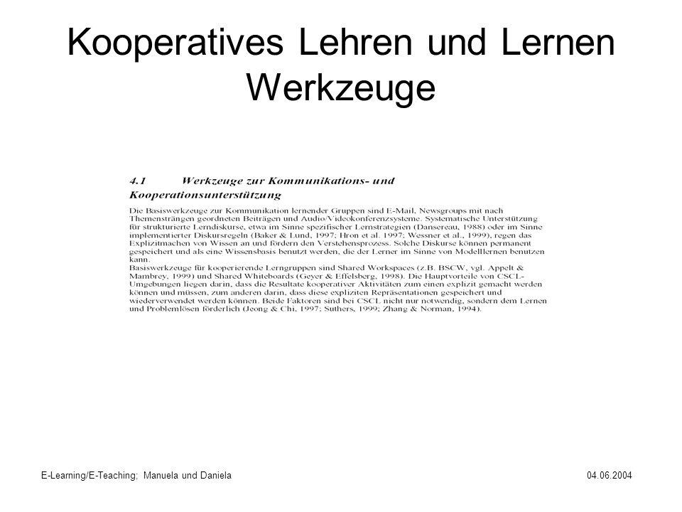 E-Learning/E-Teaching; Manuela und Daniela04.06.2004 Kooperatives Lehren und Lernen Werkzeuge